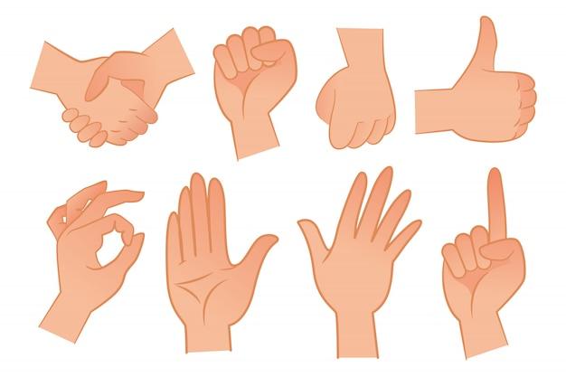Conjunto de ilustração de gestos de mão