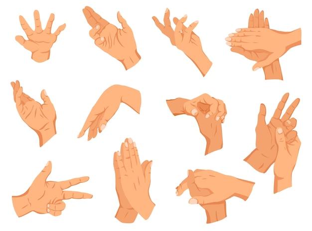 Conjunto de ilustração de gestos de mãos humanas