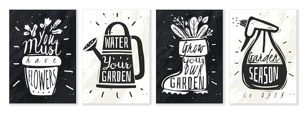Conjunto de ilustração de giz de plantas de jardim.