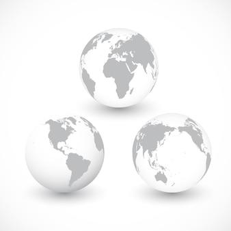 Conjunto de ilustração de globos do mundo cinza.