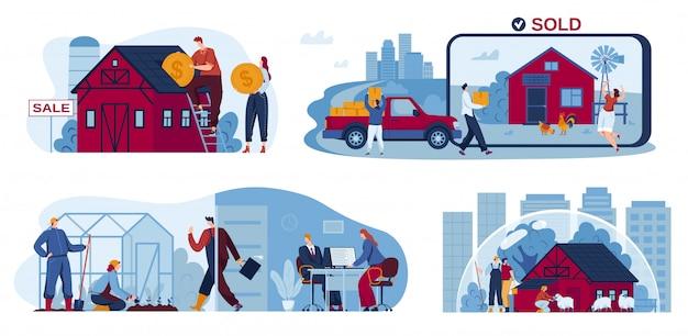 Conjunto de ilustração de habitação suburbana, personagens de desenhos animados investem em casa, comprar casa nova no subúrbio, atividade agrícola