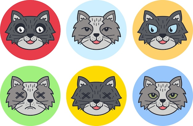 Conjunto de ilustração de ícone de cara de gato fofo, design plano