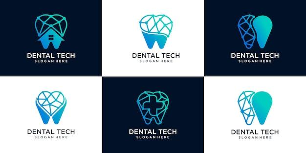 Conjunto de ilustração de ícone de logotipo de tecnologia odontológica geométrica