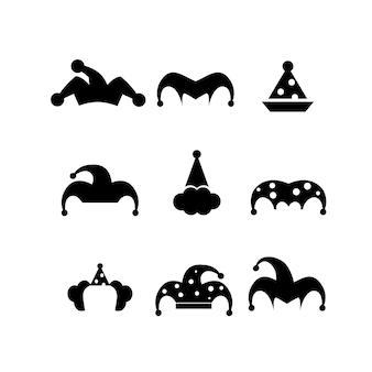 Conjunto de ilustração de ícone de vetor de chapéu jester simples
