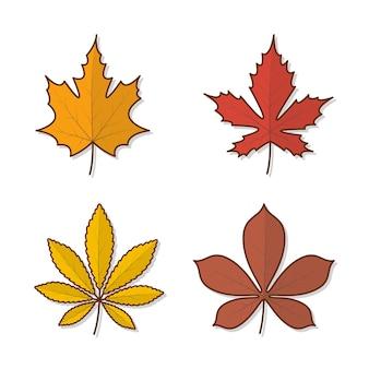 Conjunto de ilustração de ícone de vetor de folhas de outono. ícone plano de folhas de outono ou folhagem de outono