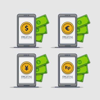Conjunto de ilustração de ícones de coleção de moeda digital