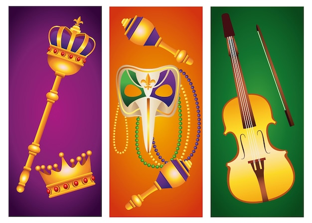 Conjunto de ilustração de ícones de conjunto de celebração de carnaval de cinco carnaval
