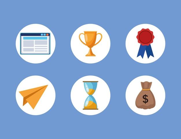 Conjunto de ilustração de ícones de conjunto de negócios