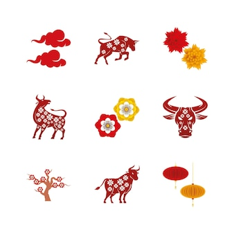 Conjunto de ilustração de ícones de conjunto de nove ano novo chinês