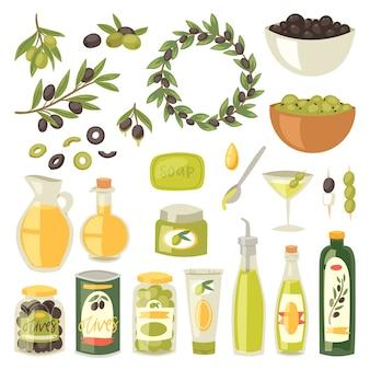 Conjunto de ilustração de ingredientes de azeitona