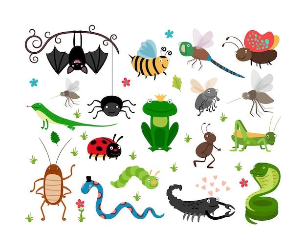 Conjunto de ilustração de insetos e répteis fofos