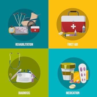 Conjunto de ilustração de instalações de saúde