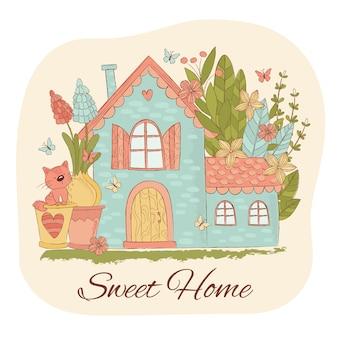 Conjunto de ilustração de jardim de primavera em casa