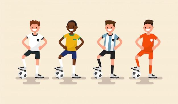 Conjunto de ilustração de jogadores de futebol