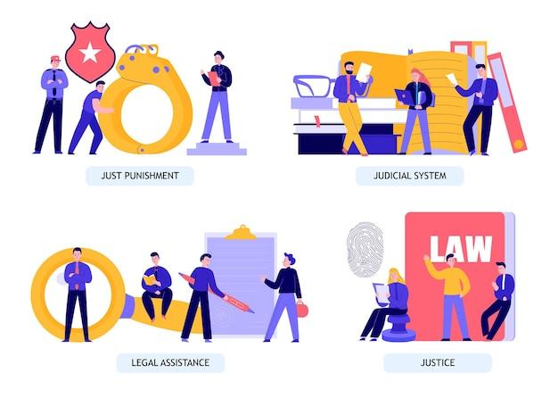 Conjunto de ilustração de justiça e legal