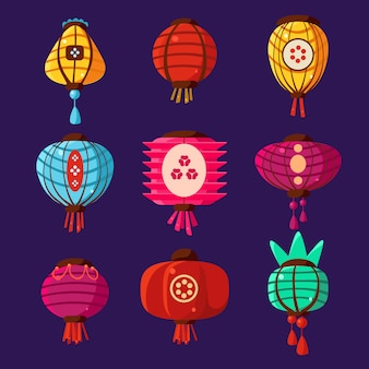 Conjunto de ilustração de lanternas coloridas