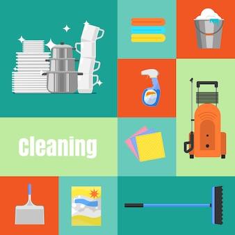 Conjunto de ilustração de limpeza