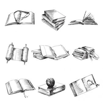 Conjunto de ilustração de livros preto e branco