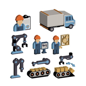 Conjunto de ilustração de logística e armazém