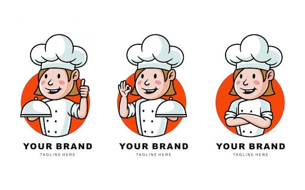 Conjunto de ilustração de logotipo chef dos desenhos animados para restaurante