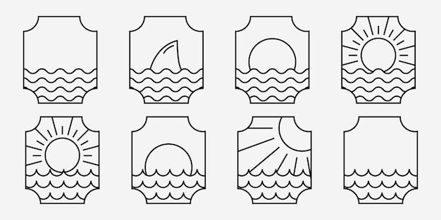Conjunto de ilustração de logotipo de linha de onda do oceano marinho, vetor de mar emblem design of maritime