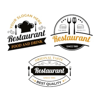 Conjunto de ilustração de logotipo de restaurante vintage