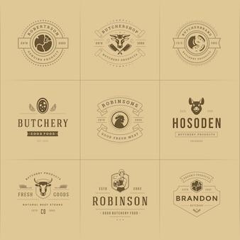 Conjunto de ilustração de logotipos de açougue