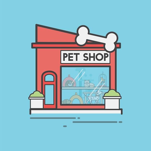 Conjunto de ilustração de loja de animais