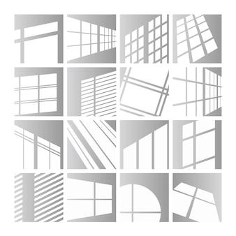 Conjunto de ilustração de luzes de janela. efeito de sobreposição de luz solar ou sombra nas molduras das janelas