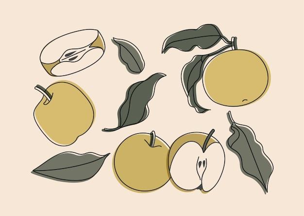 Conjunto de ilustração de maçãs isoladas