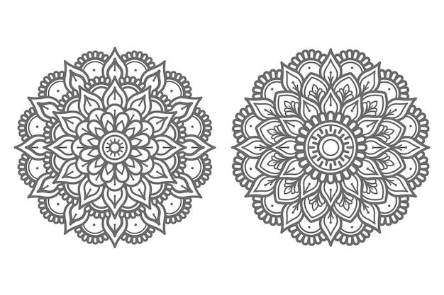 Conjunto de ilustração de mandala desenhada à mão