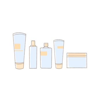 Conjunto de ilustração de mão desenhada de cosméticos básicos.