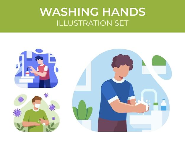 Conjunto de ilustração de mãos lavando