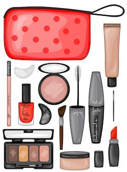 Conjunto de ilustração de maquiagem e cosméticos
