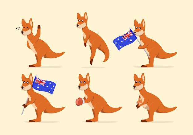 Conjunto de ilustração de mascote canguru fofo