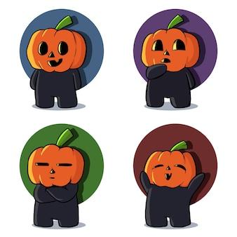 Conjunto de ilustração de mascote de abóbora fofa