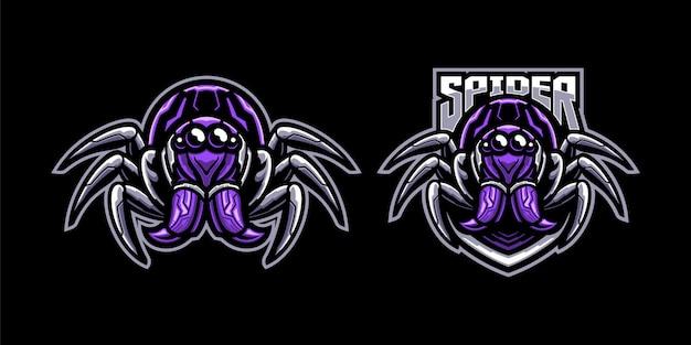 Conjunto de ilustração de mascote de aranha