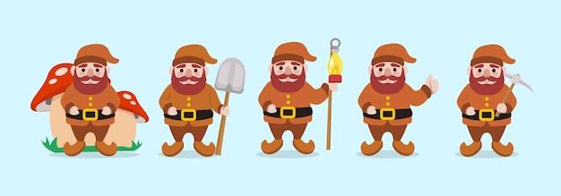 Conjunto de ilustração de mascote de natal de anão fofo