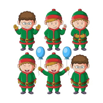 Conjunto de ilustração de mascote de natal de meninos bonitos