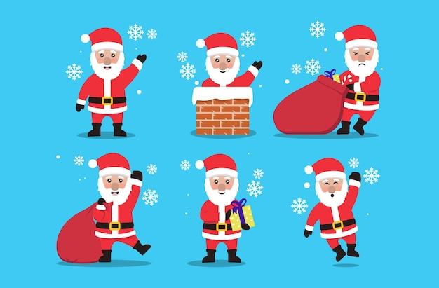 Conjunto de ilustração de mascote de natal de papai noel fofo