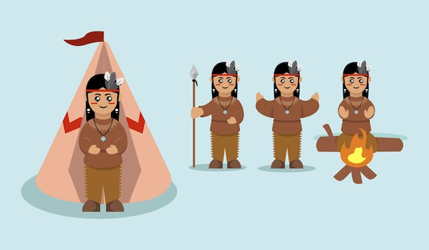 Conjunto de ilustração de mascote índio nativo americano fofo