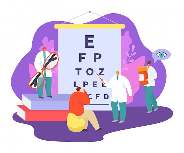 Conjunto de ilustração de medicina de oftalmologia, pessoas de pacientes minúsculos dos desenhos animados visitam o caráter de médico oftalmologista, verifique a saúde ocular