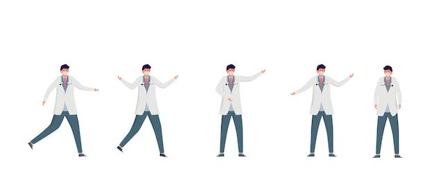 Conjunto de ilustração de médico. conceito de equipe de equipe médica no hospital.