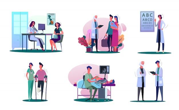 Conjunto de ilustração de médico de consultoria