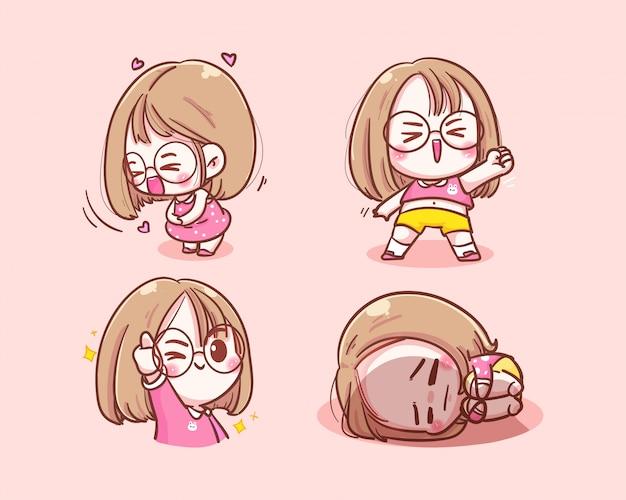 Conjunto de ilustração de menina cute personagem.