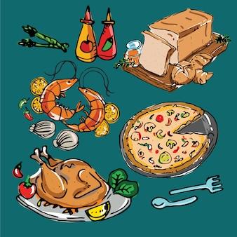 Conjunto de ilustração de menus de comida