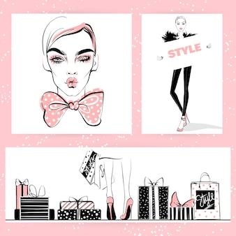 Conjunto de ilustração de moda. meninas elegantes de vetor.