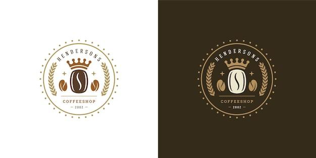 Conjunto de ilustração de modelo de logotipo de cafeteria