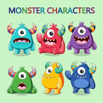 Conjunto de ilustração de monstros bonitinho