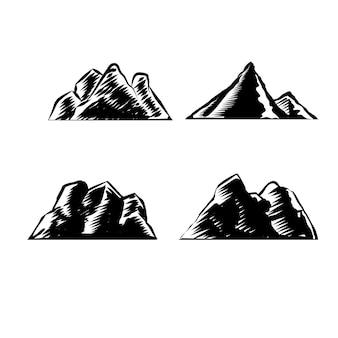 Conjunto de ilustração de montanha para elemento de logotipo e distintivo